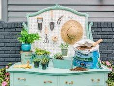 DIY Repurposed Outdoor Potting Bench Buffet Station | HGTV >> http://www.hgtv.com/design/make-and-celebrate/handmade/transform-a-dresser-into-a-potting-bench?soc=pinterest