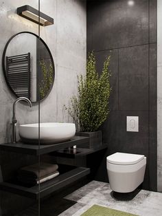 salle de bain en noir, blanc et gris, grand miroir rond au cadre fin en noir, plante interieur ombre, meuble wc suspendu blanc au design moderne Bathroom Photos, Small Bathroom, Bathroom Ideas, Serene Bathroom, Remodled Bathrooms, Colorful Bathroom, Bathroom Black, Bathroom Trends, Bathroom Spa