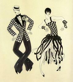 "Chic Original Vintage ERTE ART DECO Book Plate PRINT ""CHARLESTON COUPLE"""