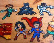 Pixel Art beads Hama mini Batman Super Man Flash Aquaman Wonder Woman Green Lantern Cyborg