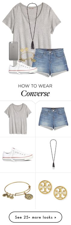 """I Dunno Bout This//Thuy"" by southern-slayers on Polyvore featuring H&M, Kenneth Jay Lane, J Brand, Converse, Native Union, Tory Burch and Alex and Ani"