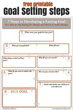 Goal Setting Steps Free Printable to get you on the right track to meet your goals. | simplerootswellness.com