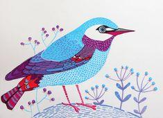 Wall art blue bird original painting room decor by sublimecolors, $29.99