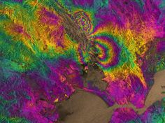 Rendering of a satellite image of an earthquake's impact