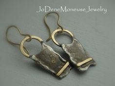 Rustic, reticulated sterling silver and gold earrings by JoDeneMoneuseJewelry