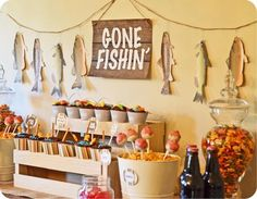 Want to catch some awesome ideas for your next boy birthday bash? We've got a boatload of ideas in this Boy's Fishing Party Round-Up! Gone Fishing Party, Fishing Party Games, Gone Fishing Sign, Fly Fishing, Party Fiesta, Party Themes For Boys, Retirement Party Themes, Retirement Ideas, Camping Parties