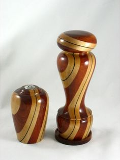 Wedding Peppermill/Salt shaker by on DeviantArt Cool Wood Projects, Wood Projects For Beginners, Lathe Projects, Wood Turning Projects, Salt And Pepper Mills, Salt And Pepper Grinders, Wood Turning Lathe, Wood Lathe, Segmented Turning