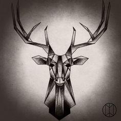 Geometric Stag Tattoo Design by NirvanaOfTime.deviantart.com on @DeviantArt