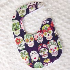 Frida Kahlo Sugar Skull Day of the Dead #Baby Bib by thegreytabbymama