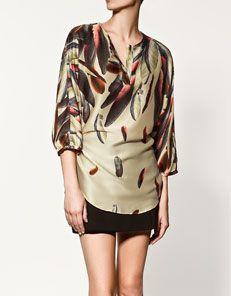 Zara feather print tunic $59.90