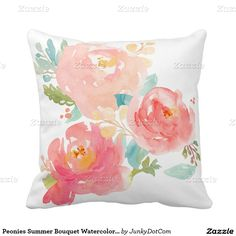 Peonies Summer Bouquet Watercolor Pastel Throw Pillows designed by JunkyDotCom