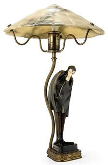 'MEPHISTOPHELES' BY ROLAND PARIS MOUNTED AS A LAMP WITH ALABASTER SHADE 1930.