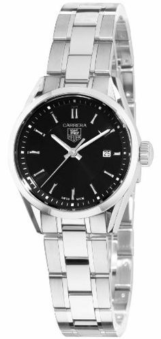TAG Heuer Women's WV1414.BA0793 Carrera Watch TAG Heuer. $1275.00. Black dial. Polished stainless steel case, stainless steel bracelet. Swiss-Quartz movement. Scratch sapphire resistant. Water-resistant to 165 feet (50M). Save 36% Off!