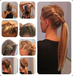 Tendance Coupe & Coiffure Femme Description Semi formal outfit and hair and make up ideas (pic) Ponytail Hairstyles Tutorial, Braided Hairstyles, Braid Ponytail, Braid Hair, Ponytail Tutorial, Braided Updo, Updo Hairstyle, Fancy Ponytail, Twisted Braid