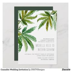 Shop Cannabis Wedding Invitation created by IYHTVDesigns. Wedding Invitation Content, Wedding Party Invites, Party Invitations, Dream Wedding, Wedding Day, Gown Wedding, Wedding Reception, Wedding Stuff, Wedding Planner