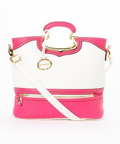 Take a look at the MKF Collection Fuchsia & White Reva Fold-Over Convertible Tote on #zulily today!
