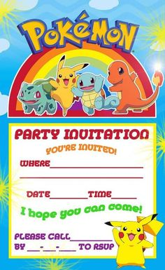 FREE Pokemon Party Invite Are You A Fan Of Go Take Look At These Ideas For The Biggest In Your Home On Frugal Coupon