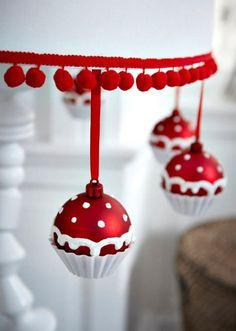boules de Noël façon cupcake ikéa