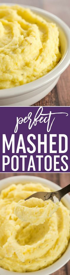 Perfect Mashed Potatoes - The Absolute Perfect, Creamiest Mashed Potatoes You'll Ever Eat One Super Simple Technique Makes All The Difference Via Browneyedbaker Fun Easy Recipes, Popular Recipes, Side Dish Recipes, Side Dishes, Mashed Potato Recipes, Potato Dishes, Thanksgiving Recipes, Holiday Recipes, Holiday Meals