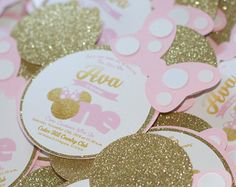 Minnie Mouse Invitation Gold Minnie Mouse Gold and Pink