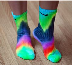 Chevron Tie Dye Nike Socks free hand art Bright by DardezDesigns