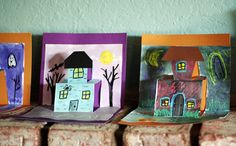 Pinner said: I'm missing all the cute holiday Kinder activities now that I'm teaching 3-4. But we could do this, and they could write spooky stories! Spooky House Pop-Up Cards...