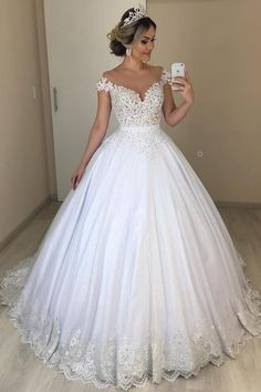 Prinzessin Ballkleid Schulterfrei Spitze Tüll Bea Princess Ball Gown Off Shoulder Lace Tulle Bea Classic Wedding Dress, Sexy Wedding Dresses, Cheap Wedding Dress, Bridal Dresses, Tulle Wedding, Gown Wedding, Backless Wedding, Short Girl Wedding Dress, Wedding Dress Removable Skirt