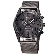 65053278c5 POTO 2017 New Men's Multifunction Day Date Analog Quartz Stainless Steel  Mesh Wrist Watch Fashion (Silver+black)
