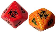 Custom & Unique {Standard Medium Size} 2 Ct Pack Set of 10 Sided [D10] Square Cube Shape Playing & Game Dice w/ Rounded Corner Edges w/Zombie Bio Hazard on 0 & 10 Design [Red, Orange, Black & Green]