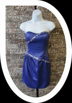 Purple Bodycon Dress with Rhinestone Ribbon Accents