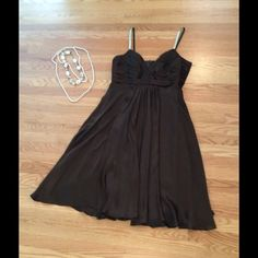 "Beautiful ANNE KLEIN NEW YORK 100% Silk Dress Great condition! Size 8. Flowy, Silk Dress. Material 100% Silk. Gold shimmer straps. 32"" in length. Beautiful chocolate brown color. Anne Klein Dresses"