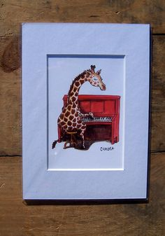 Giraffe Plays Piano 3 x 5 Print of an original by chaldea on Etsy, $15.00