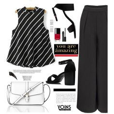 Yoins.com: You are amazing! by hamaly on Polyvore featuring L.K.Bennett, Smashbox, Chanel, Americanflat, shoes, ootd, blouse, wideleg and yoins