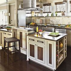Idea House Kitchens | Eco-friendly kitchen | SouthernLiving.com - i like the two tone cabinets