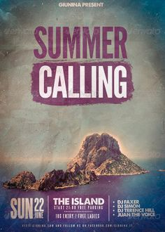 Summer Calling Flyer Poster Template - http://www.ffflyer.com/summer-calling-flyer-poster-template/ Summer Calling Flyer Poster Template This flyer was designed to promote an music event on the beach or during the summer, concert, summer festival, dj set, party or weekly event in a music club and other kind of evenings.    #Club, #Electro, #House, #Nightclub, #Party, #Pool, #SpringBreak, #Summer, #Sun