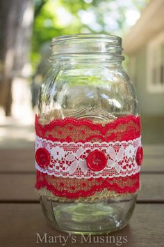 Thrifty Mason Jar Crafts and Google Hangout (Fill with red roses, mod podge glitter on bottem, Mallory)