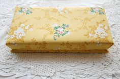 Vintage French chocolate box fabric box large by LaCroixRosion