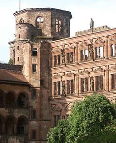 Heidelburg Castle ruins in Heidelburg,Germany. The earliest castle structure was built before AD 1214 and later expanded into 2 castles circa 1294; however, in 1537, a lightning-bolt destroyed the upper castle. The present structures had been expanded by 1650, before damage by later wars and fires. In 1764, another lightning-bolt destroyed some rebuilt sections.