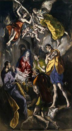 El Greco -  Adoración de los pastores,  1612 - 1614,  Óleo,  319 cm x 180 cm / Museo Nacional del Prado