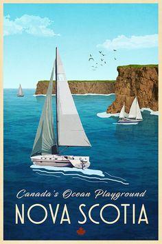 Poster Art, Art Deco Posters, Nova Scotia Travel, Traverse City Michigan, Alberta Travel, Modern Photographers, Canadian Art, Naive Art, Vintage Travel Posters
