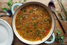 summerstrone - Dom in the Kitchen Veggie Soup, Vegetable Seasoning, Vegetarian Soups, Casserole Pan, Heirloom Tomatoes, Vegetable Stock, Fruit And Veg, Quick Recipes, Autumnal
