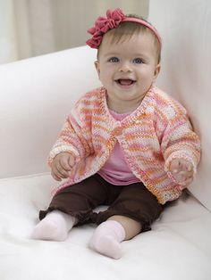 """Make this wear-anywhere sweater in any color so that baby will always have the perfect layer to keep cozy and comfortable. We've included sizes 12 months to 4 years so you can make a new sweater as baby grows."""