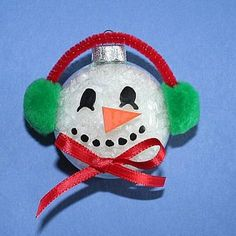 Christmas snowman glass ball craft - kind of like the one we did for parent gifts this year