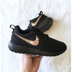 Swarovski Nike Shoes Bling Nike Roshe One Black Customized With Rose... ($150) ❤ liked on Polyvore featuring shoes, grey, sneakers & athletic shoes, women's shoes, shiny shoes, rosette shoes, rose shoes, rose gold shoes and shiny black shoes