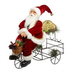 """One of my favorite discoveries at ChristmasTreeShops.com: 14"""" Santa on """"Good Times"""" Wine Tricycle"""