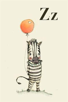 Z for Zebra Alphabet animal  Print 4x6 inches by holli on Etsy