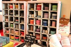 Washi Tape organized in vintage soda crates #craftshow #booth #display