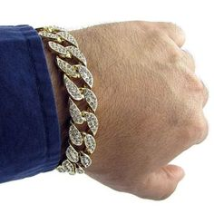 Men's Luxury Simulated Diamond Fashion Bracelets & Bangles High Quality Gold Plated Iced  FREE SHIPPING WORLDWIDE