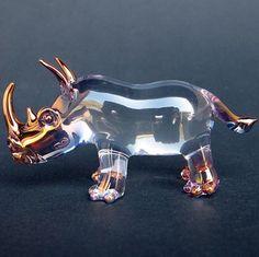 Rhino Rhinoceros Figurine Blown Glass Crystal by ProchaskaGallery