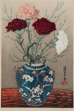 """Urushibara Yoshijiro / """"Mokuchu"""" (1888-1953), Carnations in a Vase"""